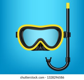 Creative vector illustration of scuba diving, swimming mask with snorkel, goggles, flippers isolated on transparent background. Art design realistic snorkeling diver equipment for summer holidays
