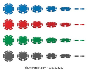 Creative vector illustration of set casino poker chips in flip different angles position isolated on transparent background. Art design blank mockup template. Abstract concept graphic element