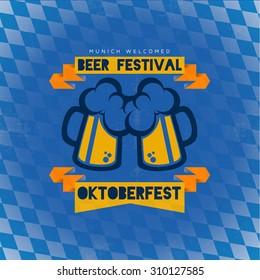 creative vector illustration set of labels, badges and design elements on the Oktoberfest design beer festival