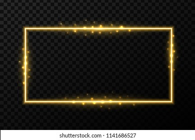 Creative vector illustration of shiny golden glowing frames with light isolated on transparent background. Art design glittering effect sparks. Abstract concept graphic banner element