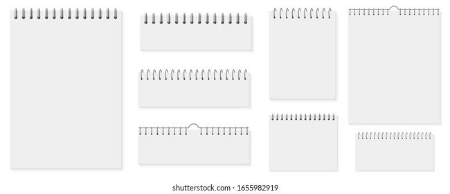 Creative vector illustration of spiral notebooks, sheets of paper, blank pages, notepad isolated on background. Art design white list notebook template. Spiral brochure mock up, calendar element