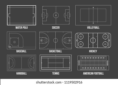 Creative vector illustration of sport game fields marking isolated on background. Graphic element for handball, tennis, american football, soccer, baseball, basketball, hockey, water polo, volleyball