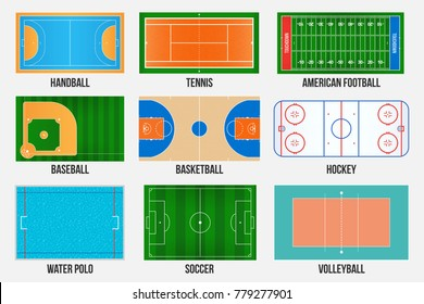 Creative vector illustration of sport game fields marking isolated on background. Graphic element for handball, tennis, american football, soccer, baseball, basketball, hockey, water polo, volleyball.