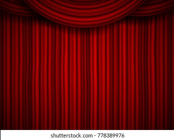 Creative vector illustration of stage with luxury scarlet red silk velvet drapes and fabric curtains isolated on background. Art design. Concept element for music party, theater, circus, opera, show.