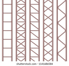 Creative vector illustration of steel truss girder, chrome pipes isolated on transparent background. Art design horizontal metal construction structure for billboard. Abstract concept graphic element