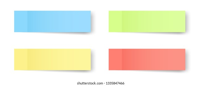 Creative vector illustration of sticky notes, reminders, bookmarks with shadows isolated on transparent background. Art design paper memo of different color template. Abstract concept graphic element