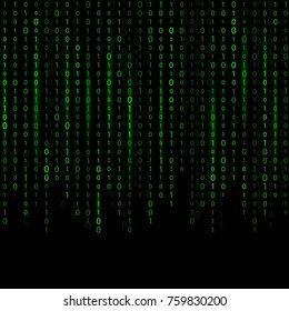 Creative vector illustration of stream of binary code. Computer matrix background art design. Digits on screen. Abstract concept graphic data, technology, decryption, algorithm, encryption element.