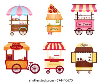 Creative vector illustration of street coffee cart, popcorn and hot dog shop, pizza, ice cream and donut shop set on white background in cartoon flat style.