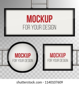 Creative vector illustration of street sign hanging mounted illuminated lightbox isolated on transparent background. Art design 3d realistic empty blank mockup template. Concept graphic element.