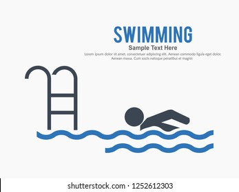 Creative vector illustration of swimming icon, vector swimming pool, water swim sport.