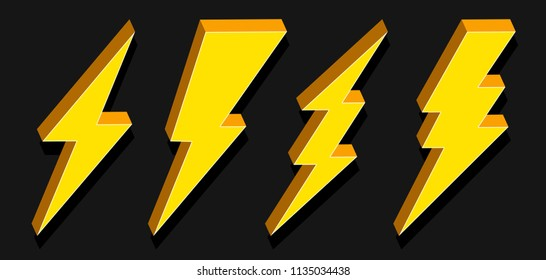 Creative vector illustration of thunder and bolt lighting flash icon set isolated on transparent background. Art design electric thunderbolt. Abstract concept graphic dangerous symbol icon element.