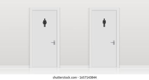 Creative vector illustration of toilet door, male and female genders, wc, bathroom with wall. Art design public toilet template. Abstract concept man and woman gender lavatory room