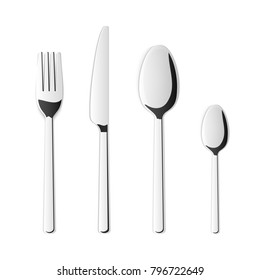 Creative vector illustration top view cutlery set of silver fork, spoon, knife isolated on transparent background. Art design kitchen silverware table setting. Concept graphic printables element.