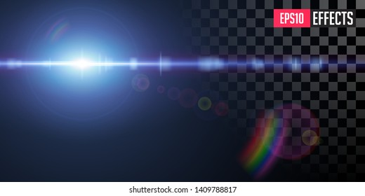 Creative Vector Illustration of Transparent Sci-Fi Blue Star Special Lens Flare Light Effect. Concept Graphic Element.