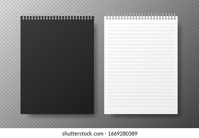 Creative vector illustration of two realistic notebooks black and white for lines paper isolated on transparent background. Vector illustration.