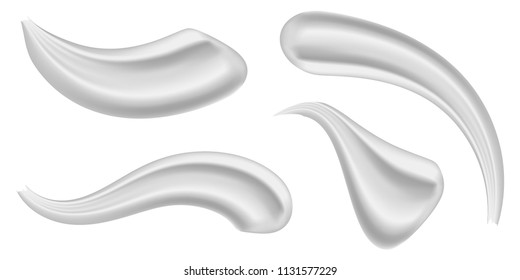 Creative vector illustration of various strokes beauty face cosmetic white cream texture set isolated on transparent background. Art design gel or foam drop. Abstract concept graphic element.