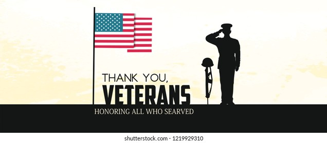 Creative vector illustration of Veterans Day. Honoring all who served.