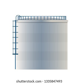 Creative vector illustration of water tank, crude oil storage reservoir isolated on transparent background. Art design gasoline, benzine, fuel cylinder template. Abstract concept graphic element