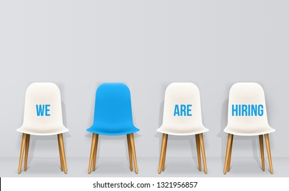 Creative vector illustration of we are hiring - recruiting concept, resources job employment career jobless interview, chairs isolated on background. Art design template. Abstract graphic element