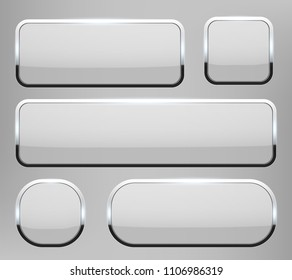 Creative vector illustration of white 3d glass buttons with chrome frame with shadow falling isolated on transparent background. Art design. Abstract concept graphic rectangle, oval web icons element