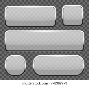 Creative vector illustration of white 3d glass buttons with chrome frame with shadow falling isolated on transparent background. Art design. Abstract concept graphic rectangle, oval web icons element.