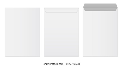 Creative vector illustration of white blank paper envelopes template set isolated on transparent background. International standard sizes. Art design empty example packing letter. Graphic element