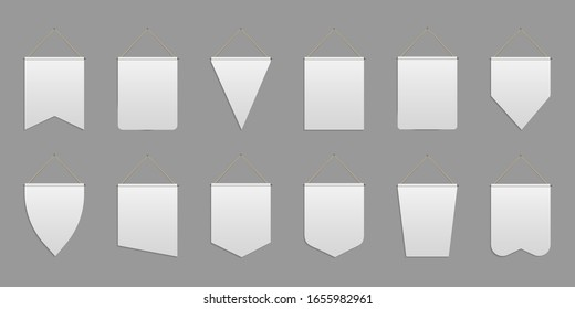 Creative vector illustration of white pennant, empty banners, hanging fabric flags, pennons isolated on background. Art design wall pennants template. Abstract concept advertising banner element
