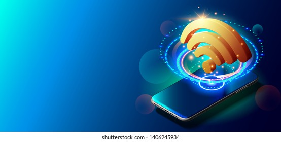 Creative Vector Illustration of WiFi 5G Network Wireless Technology Vector Illustration. Art Design of Wireless Signal Communication. Network Security System Concept. Abstract Concept Graphic Element.