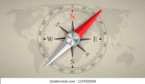 Creative vector illustration of wind rose magnetic compass isolated on transparent background. Art design for global travel, tourism, exploration. Concept graphic element for navigation, orientation