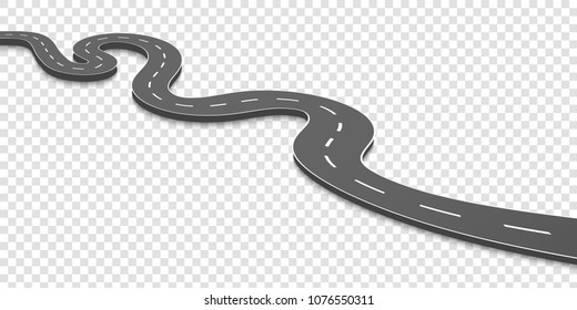 Creative vector illustration of winding curved road. Art design. Highway with markings. Direction, transportation set. Abstract concept graphic element. Way location infographic template. Pin pointer