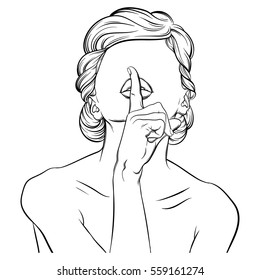 Creative vector illustration of woman without eyes made in hand drawn realistic style. Hipster hand sketched artwork. Template for business card poster banner label print for t-shirt