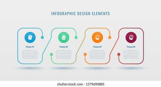 Creative vector infographics elements with creative design illustration. Can be used for workflow layout, diagram, number options,  icons for 4 steps or options, vertical design template. EPS10