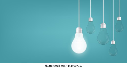 Creative vector of isolated light bulbs on background. Art design illustration new ideas with innovation, creativity. Abstract concept graphic LED lightbulb element. Business leadership