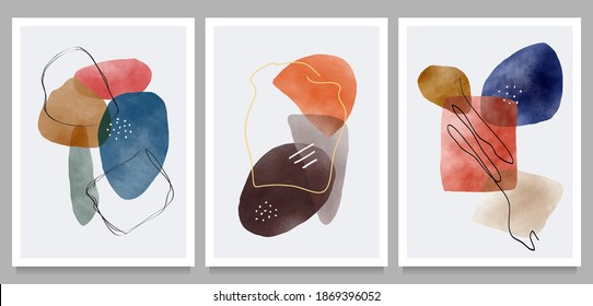 creative vector minimalist hand painted on set,  various shapes and organic modern art objects for background, social media, wall decoration, postcard