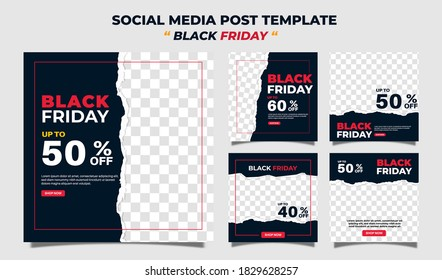 Creative vector modern black friday sale social media post template  banner collection.