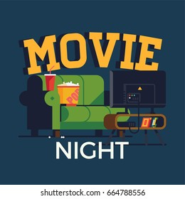Creative vector 'Movie Night' flat design illustration. Home movie watching entertainment with green sofa couch and flat screen TV. Ideal for web, graphic and motion design