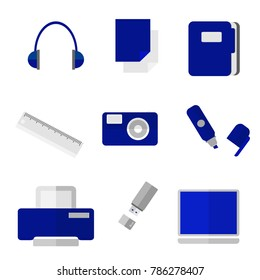Creative vector office objects of blue color.
