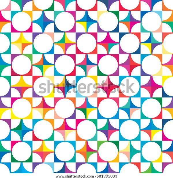 Creative vector seamless pattern with geometric shapes in abstract style. Can used for printing brochure, web, banner, poster, party, vintage textile design, card.