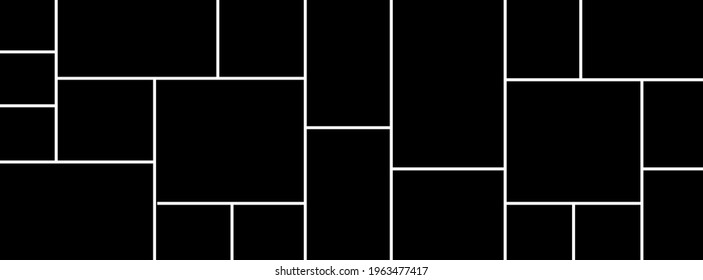 Creative vector Template Collage consisting of 21 frames for a photo of a square and rectangular shape.