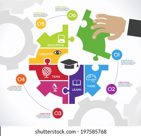 Creative vector template with puzzles, gears, human hand and icons. Concept education ideas.