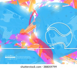 Creative vector tennis ball. Art illustration template background. For presentation, layout, brochure, logo, page, print, banner, poster, cover, booklet, business infographic, wallpaper, sign, flyer.