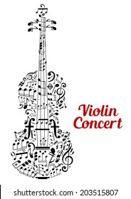 Creative vector Violin Concert poster design with the shape of a violin composed of music notes and clefs in a random scattered pattern in a text cloud and the text - Violin Concert - alongside