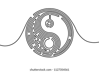 Creative vector Yin and yang. One line style illustration