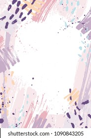 Creative vertical backdrop decorated with pink and purple pastel paint traces, blots and brush strokes on white background. Hand painted frame or border. Artistic vector illustration in grunge style