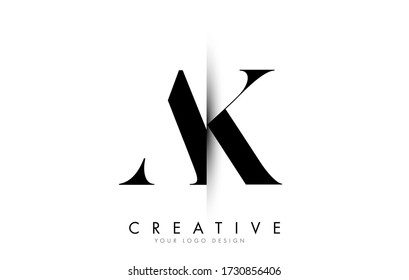 Creative vertical shadow cut AK A K letter logo. Business logo with two cut letters on white background vector illustration design.