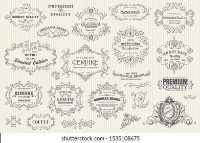 Creative vintage elements set vector illustration. Labels and badges, retro ribbons, luxury ornate logo symbols, calligraphic swirls, flourishes ornament vignettes and other