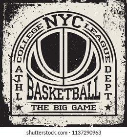 Creative vintage t-shirt graphic design, grange print stamp, basketball typography emblem, sports logo, Vector.