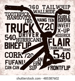 Creative vintage t-shirt graphic design,  grange print stamp, bmx freestyle typography emblem, sports logo, Vector