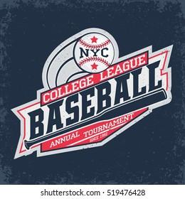 Creative vintage t-shirt graphic design,  grange print stamp, baseball typography emblem, sports logo, Vector