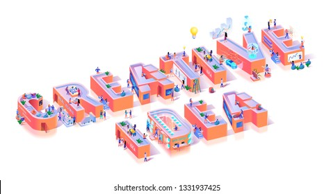 Creative Vision Innovation Idea Typography Banner. Abstract Thinking Life Alphabet Abstract Collage. Marketing Horizontal Composition for Advertising Motivation Isometric 3d Vector Illustration